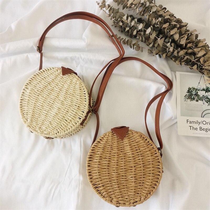 2019 New Straw Bag Round Beach Bag Beach Holiday Handbag Retro Simple Slung Woven Bag Womens Bag Luggage & Bags Shoulder Bags