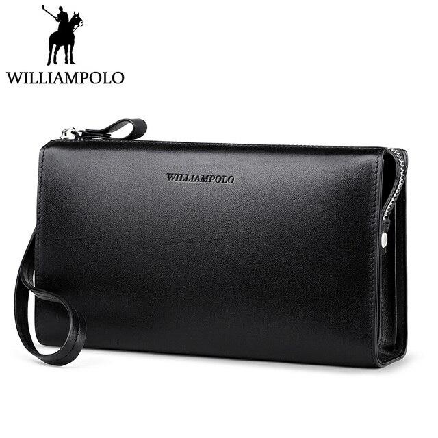 c4525de41b WILLIAMPOLO Minimalist Business Men s Clutch Bag Genuine Leather Flap Handy Wallet  Men Clutches with cigarette case Phone Pocket