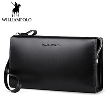 WILLIAMPOLO Minimalist Business Men's Clutch Bag Genuine Leather Flap Handy Wallet Men Clutches with cigarette case Phone Pocket
