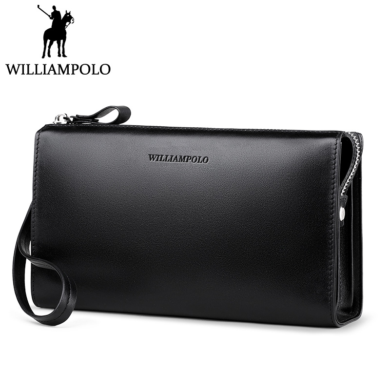 WILLIAMPOLO Minimalist Business Mens Clutch Bag Genuine Leather Flap Handy Wallet Men Clutches with cigarette case Phone Pocket