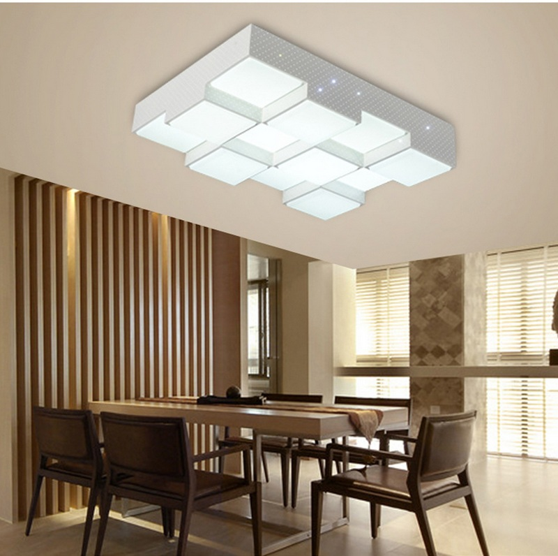 Home Interior Led Lights: LED Acrylic Cube Ceiling Lamps Home Living Room Bedroom