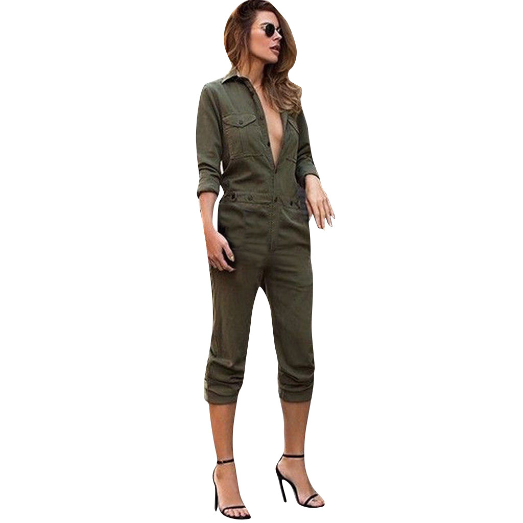 Womail Overalls For Women Jumpsuits Lapel Long-Sleeved Front Buttoned Street Trend Tooling Jumpsuit Overalls For Women Elegant