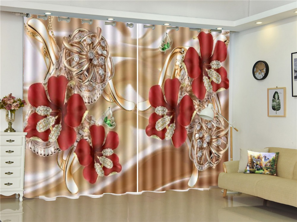 Curtain Red Petals Luxury Diamond Buds Delicate Flowers 3D Flower Curtains Beautiful Multi-Use