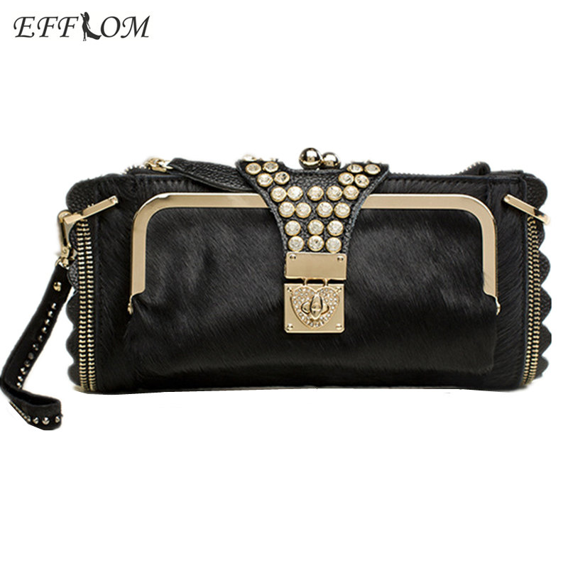 Women Evening Crystal Clutch Bags Horsehair Genuine Leather Clutches Ladies Party Hand Bags Chain Shoulder Crossbody Bags Female 2
