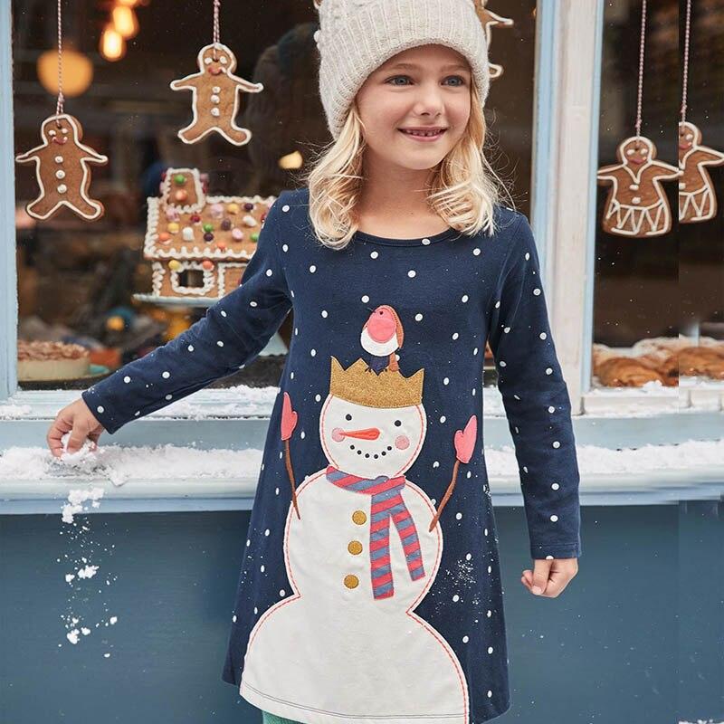 Springen Meter Mädchen Kleider Langarm 2017 Marke 100% Baumwolle Baby Kleid Weihnachten Kinder Kleidung Kinder Kleid Prinzessin Vestido