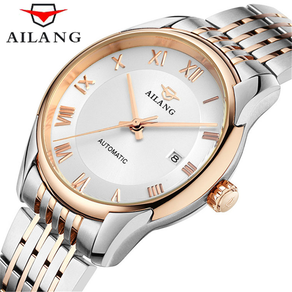 2017 AILANG Business Mechanical Watches 30m Waterproof Stainless Steel Band Fashion Casual Wristwatches Men New Luxury Watch 2016 hot sale top brand ailang luxury men watches casual fashion waterproof stainless steel wristwatches mechanical watch