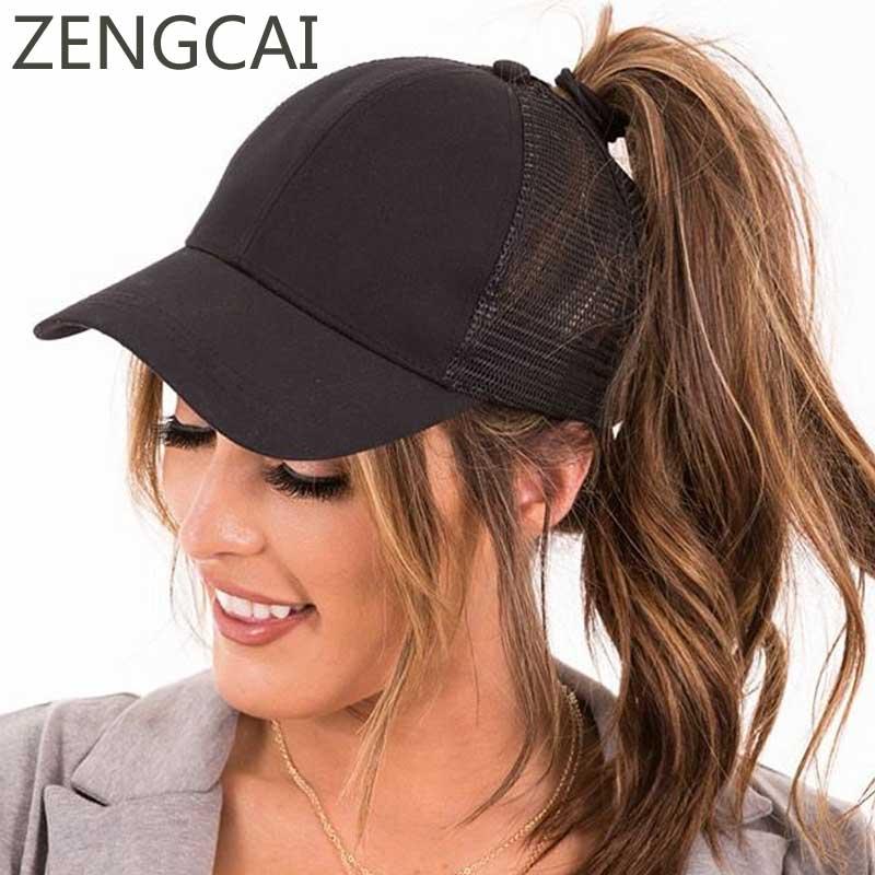 CC Ponytail Baseball Cap Sun Mesh Trucker Dad Hats For Women Visor Messy Bun Glitter Snapback Hat Summer Hat Casual Caps Black