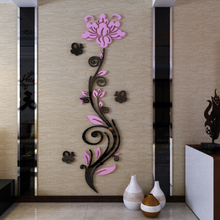 hot deal buy rose vine 3d crystal acrylic three-dimensional wall stickers entranceway tv background wall sofa wall diy wall stickers