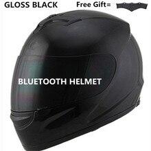 Capacete facial para moto, capacete completo com lente de segurança, com bluetooth s matte preto