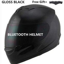 Moto r gorro para moto máscara completa con lente casco de seguridad casco dot llamada telefónica música bluetooth casco de motocicleta S negro mate