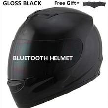 motor motorcycle hat Full Face helmet with lens safety helmet DOT helmet phone call music bluetooth Moto helmet  S  matte black triple 8 brainsaver gun matte helmet