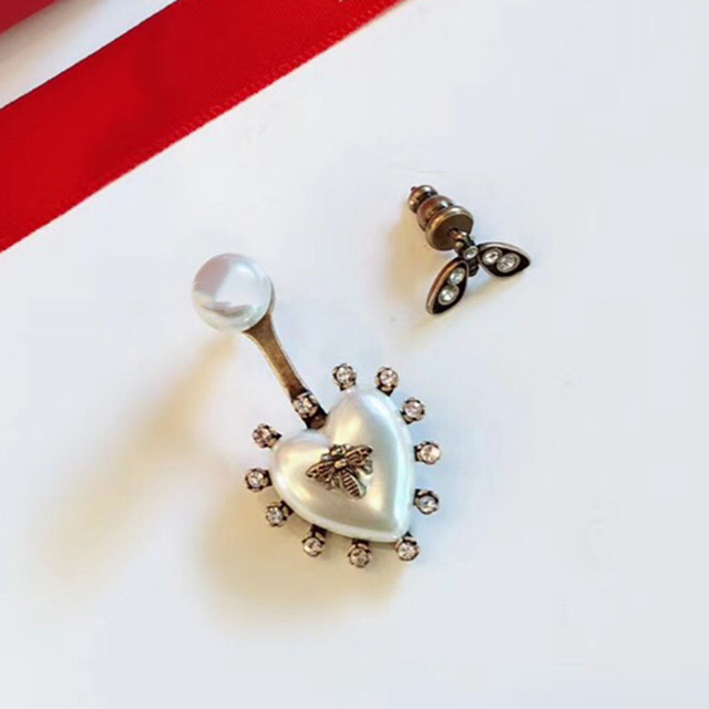 0fcb020ffec8 Luxury Brand Fashion Vintage Tassel Pearl Earrings White Black AB Design  Heart Bee Dangle Earring Women