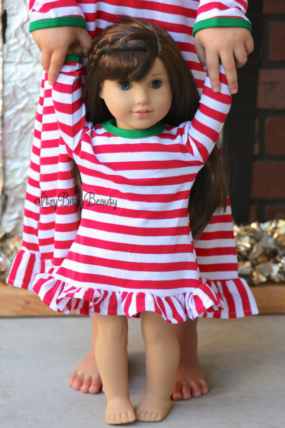 Girls-Christmas-Nightgown-Ruffle-Dress-Girls-Christmas-Pajamas-Red-And-White-Stripe-personalized-custom-initial-monogram-Dress-1