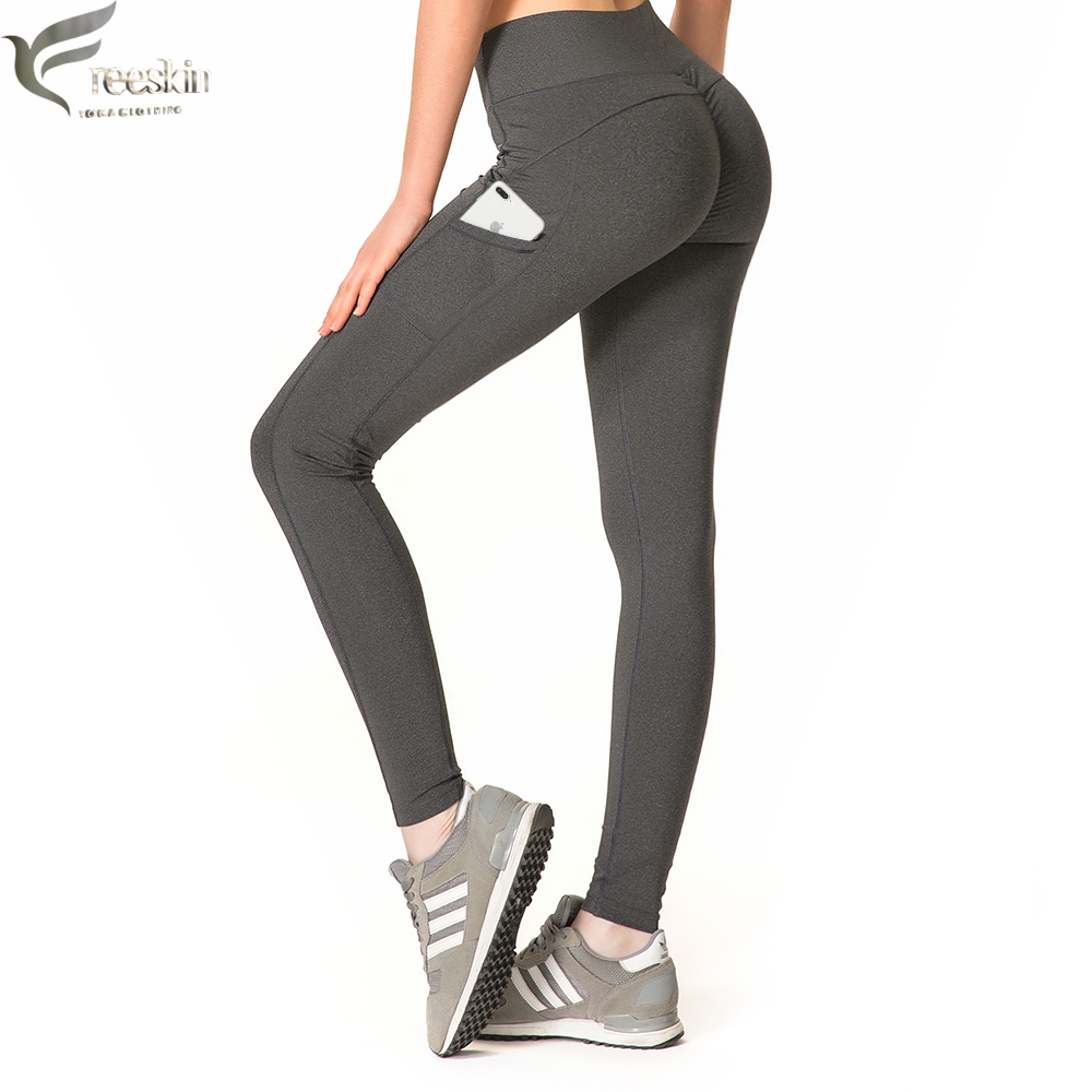 Freeskin Push Up Leggings With Pockets Women Sport Pants Fitness Gym Running Patchwork Yoga Workout Leggings For Women