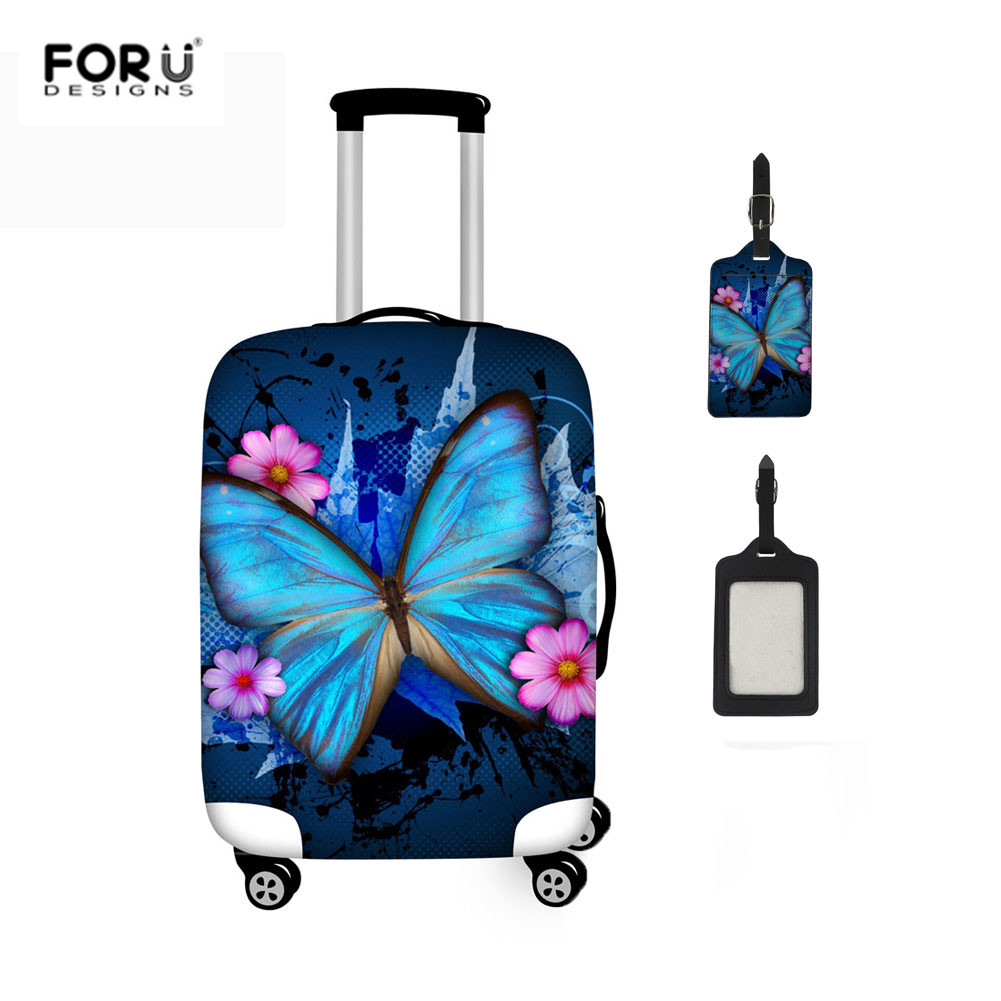 FORUDESIGNS New Fashion 2pcs/set Luggage Cover Suitcase Tag Butterfly Print Waterproof Travel Organizer Cover For 18-32Inch Case