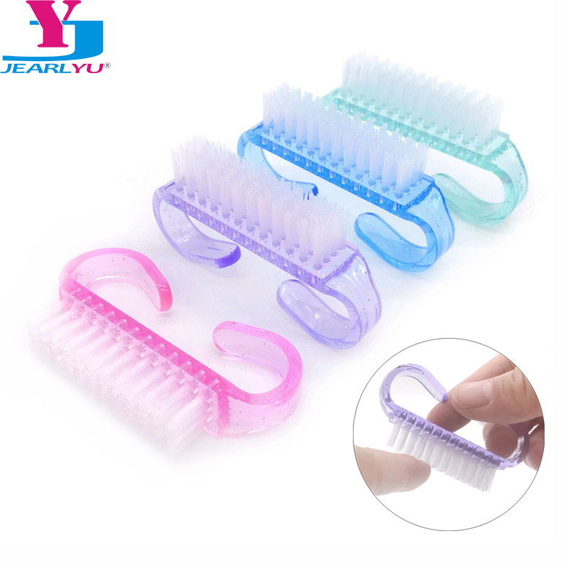 10 Pcs/Lot Acrylic Nail Brush 4 Color Nail Art Manicure Pedicure Soft Remove Dust Plastic Cleaning Nail Brushes File Tools Set