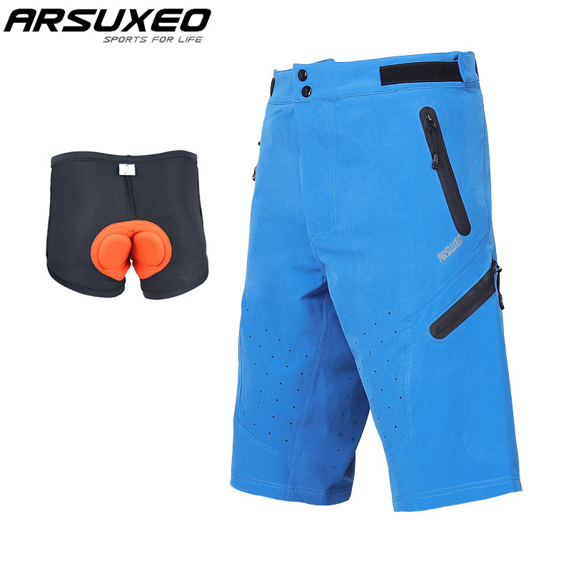 ARSUXEO Men Outdoor Sports Cycling Shorts Running Shorts Mountain Bike MTB Shorts Water Resistant With Optional Pad Underwear
