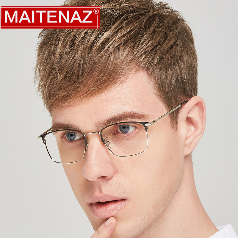 MAITENAZ Alloy Prescription Eyeglasses Vintage Myopia Hyperopia Glasses for Men Women Fashion Protection Spectacles 1591(China)