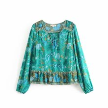 Women Summer Blouse Phoenix Bird Positioning Print  National Style Lace-up Long sleeved Blouse Ladies V-Neck Slim Tops v neck floral print lace up front blouse