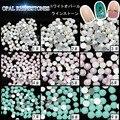75pcs/lot Genuine Opal Pink white green Nail Art Flatback Rhinestones Crystal Gems