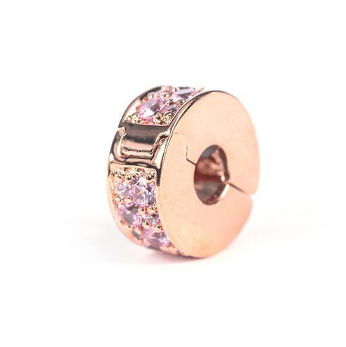 100%925 Sterling Silver Rose Gold Glitter spacer clip beadInlaid CZ fashion elegant Fits Pandora Bracelets DIY Jewelry making