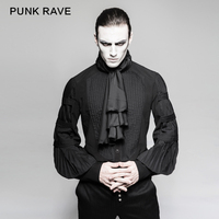 2018 Fashion Punk rave Gentleman Steampunk Shirt with Necktie Gothic Black Top Evening Shirt Y752