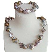 Trasporto libero big viola baroque pearl jewelry set 100% NATURALE DACQUA DOLCE PERLA Barocca 15 20 millimetri collana di perle CON IL BRACCIALETTO