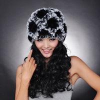 DL6016 אופנה הטבעית רקס ארנב פרווה כובעי נשים בימס כובע כובעי החורף חמים פרווה אמיתי מסין