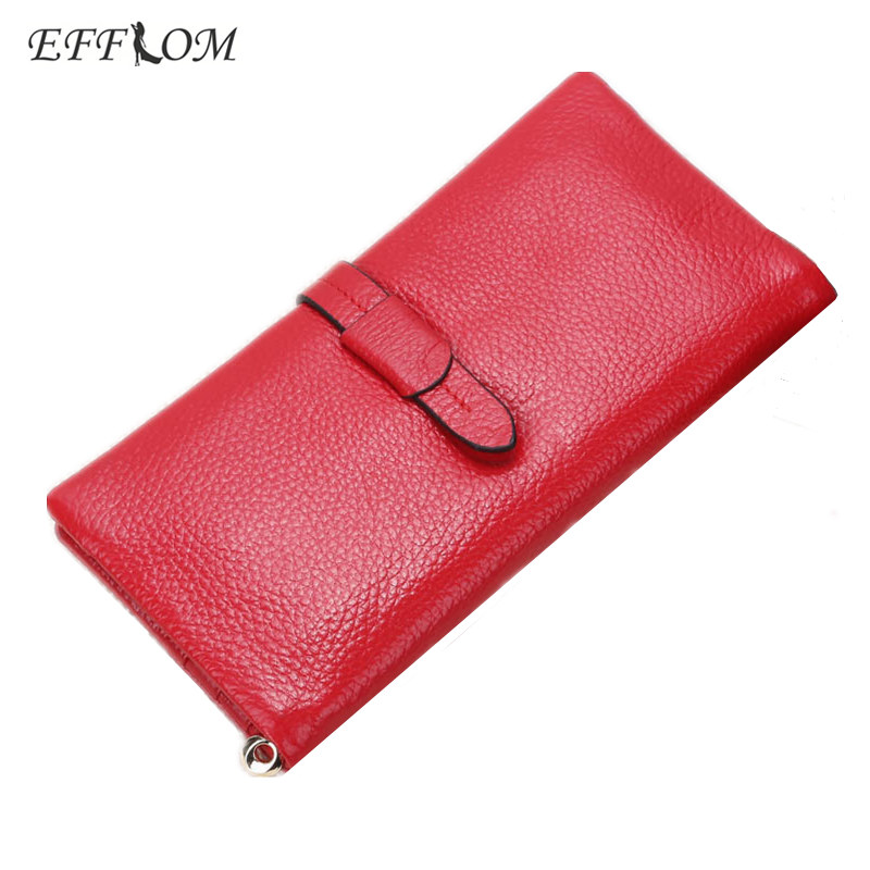 EFFLOM High Quality Genuine Leather Wallet Women Brand Grained Real Cowhide Slim Wallet Red Solid Ladies Purse Long Card Holder contact s new high quality red leather genuine wallet women purse card holder brand hasp