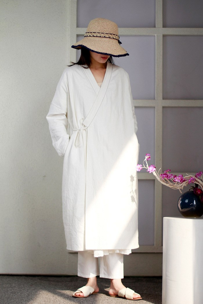 Women Chinese Style Autumn Long   Trench   Cotton Casual V-Neck Solid Color White Coats Loose Long-Sleeved Tie Outwear