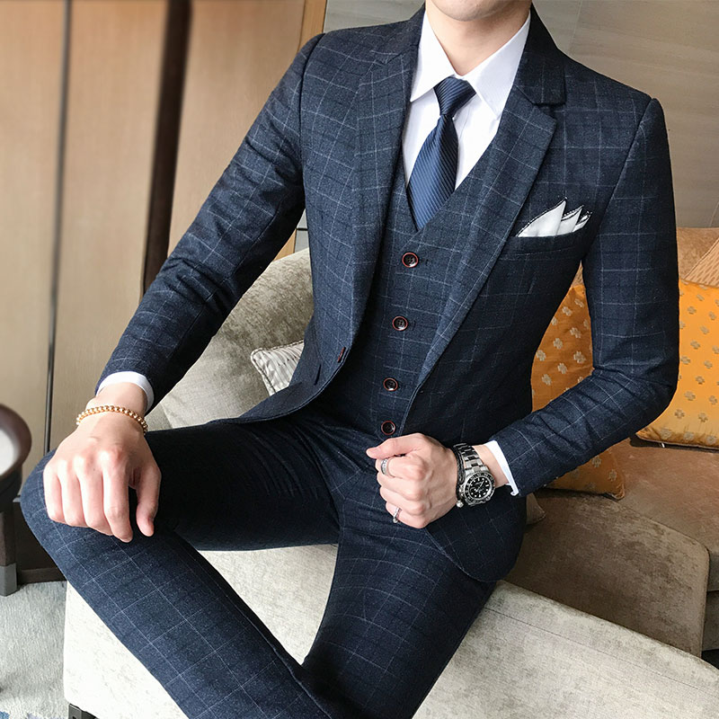 Marque costume hommes 2019 classique vérifier costume 3 pièce ensemble de luxe mode hommes bleu smoking boutique hommes marié robe de mariée costume