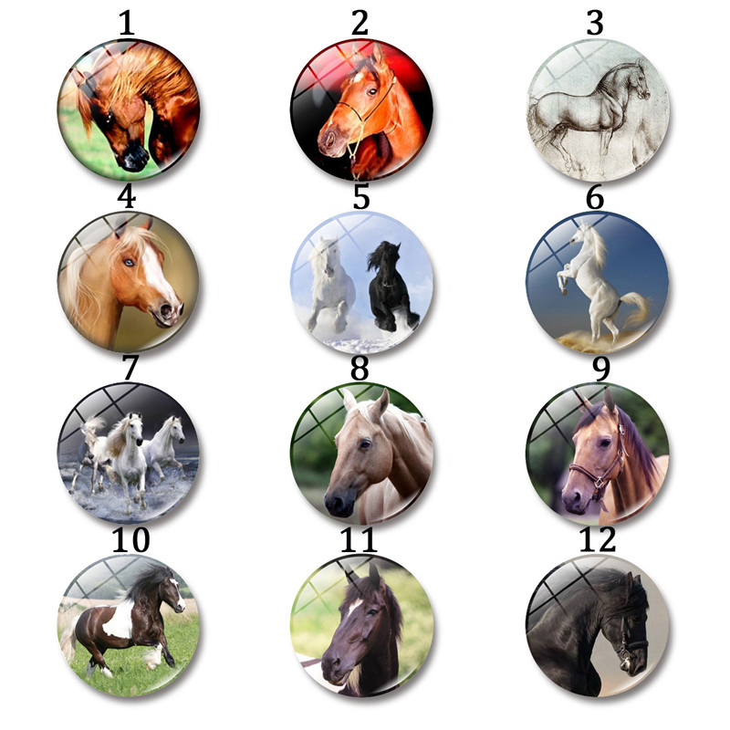 12-30 Mm Animal Horse Glass Cabochon Round Photo Cameo Cabochon Setting Supplies for Jewelry Accessories DIY Handmade