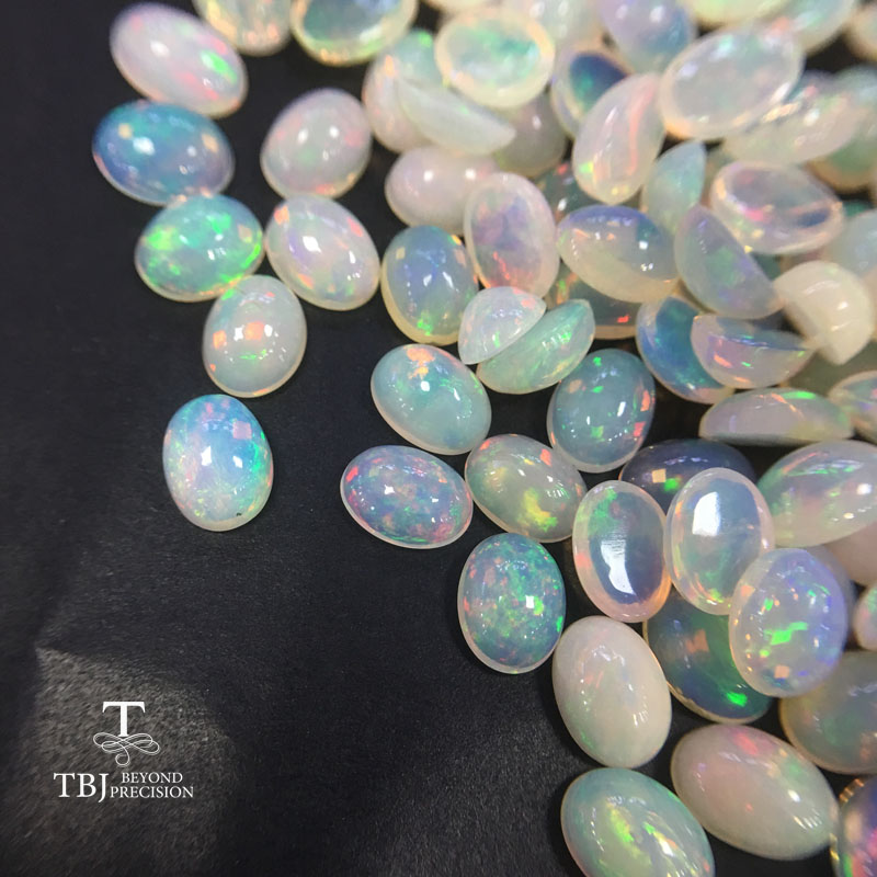 Tbj ,Natural ethiopian colorful opal ov6*8mm top quality ard 0.7ct natural precious gemstones for 925 sterling silver jewelry