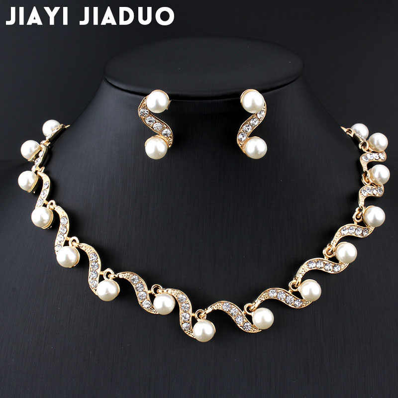 Jiayijiaduo African Bridal Gold-color Jewelry Sets Imitation Pearl Women Necklace Earring Set Wedding Gift Party Dropshipping