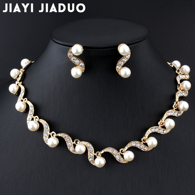 jiayijiaduo  African bridal gold-color jewelry set imitation pearl for women  necklace earrings set wedding design  gift party