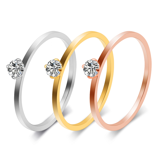 Small Cubic Zirconia Rings Stainless Steel Fashion Jewelry For Grils