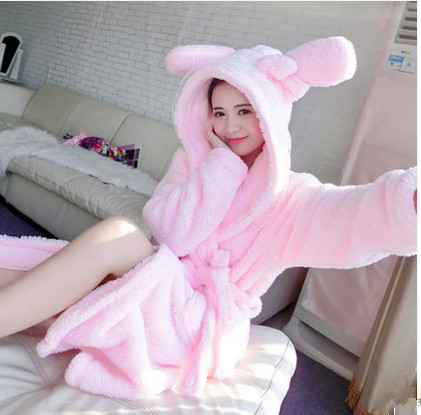 Woman winter sexy kawaii Robes animal rabbit/mouse/stitch/elephant long-sleeve bathrobe sleepwear
