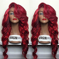 99j бордовый волна фронта парик с большого взрыва Glueless человеческих волос бразильский девственные волосы парик с волосами младенца
