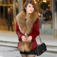 2016 Rabbit Fur Full Real Fur Vest Fur Coat Autumn And Winter New Female Waist Was Imitation Raccoon Collar Coats In The Long