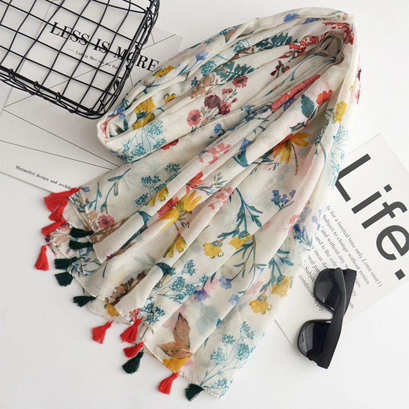 LANHUIFD Country Style Linen Woman Scarf Flowers Travel Sunscreen Shawl Thin Section Scarves Beach Bali Yarn Party Gift