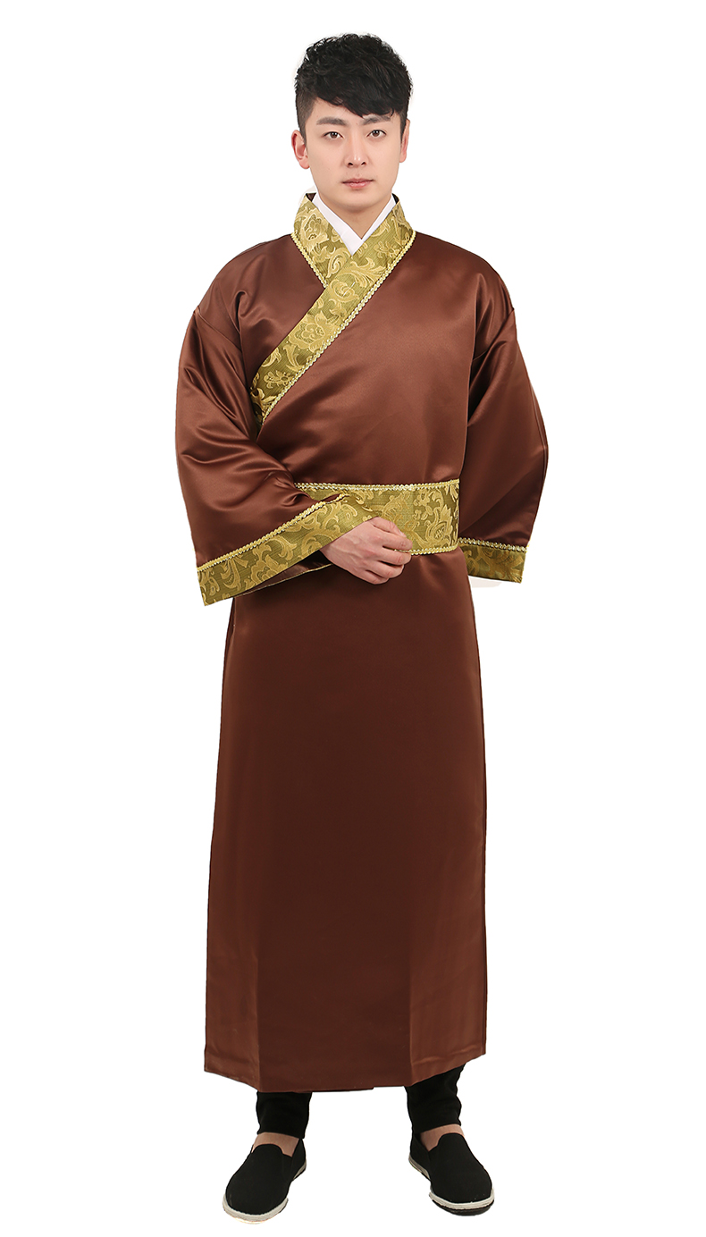 Brown Color Chinese ancient costumes for men oriental television stage costume royal clothes male hanfu tang