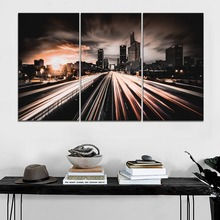 One Set Modular 3 Panel City Night Road Traffic Buildings Picture Modern Wall Home Decorative Artwork Canvas Print Type Painting