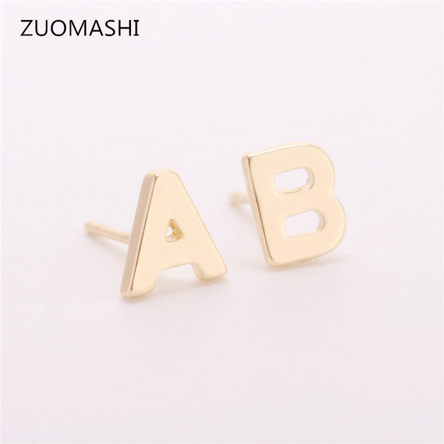 initial print solid jumbo earrings mynamenecklacecanada gold stud in product