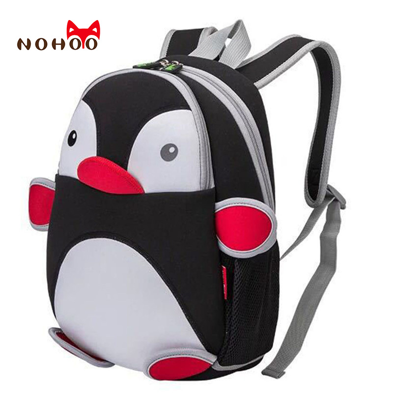 NOHOO 3D Penguin Waterproof Bags For Girls Boys Animals Backpack Toddler Children Cartoon School Bag Kid School Backpacks