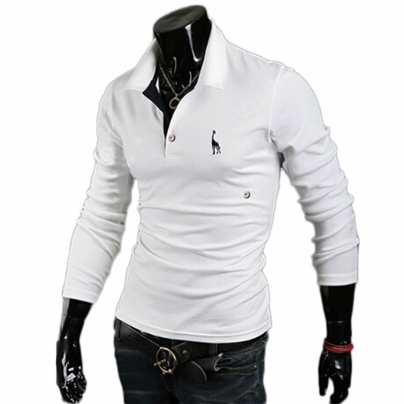 2017 Brand Men Golf Shirt Mens White Shirt Male Long Sleeve Deer Embroidery Shirt SpringSport Tops Plus Size 3XL 908720 ...