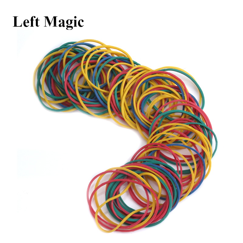 100 Pcs Elastic Rubber Band Three Colors (yellow White Multicolor) Magic Trick Elastic Rubber Band Magicprop Color Rubber Band