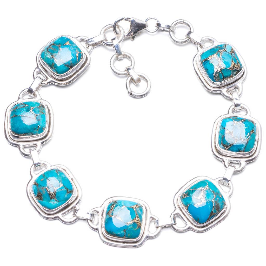 Natural Turquoise Handmade Unique 925 Sterling Silver Bracelet 7 1/4-8 1/4