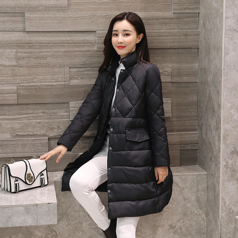 Women Slim Mid-Length Down Jacket 2017 Winter New Fashion Plus Size Keep Warm Light and Thin Parka Coat Black Pink Cotton Parkas рюкзак case logic 17 3 prevailer black prev217blk mid