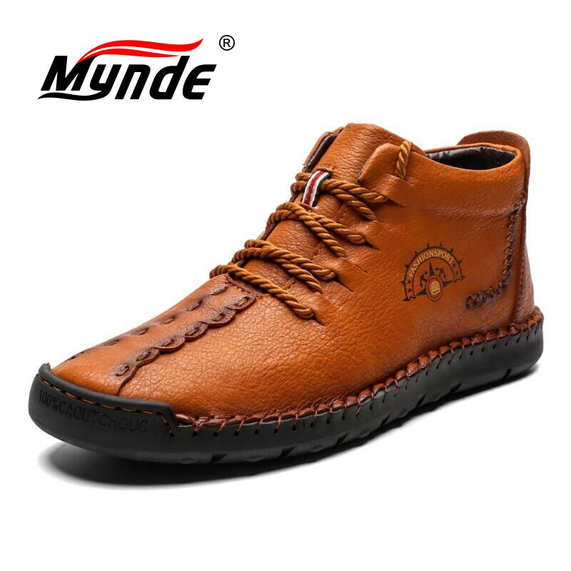 Mynde 2019 Warm Leather Men Boots Winter Fur Snow Boots Men Winter Work Casual Shoes High Top Rubber Ankle Boots Big Size 38-48
