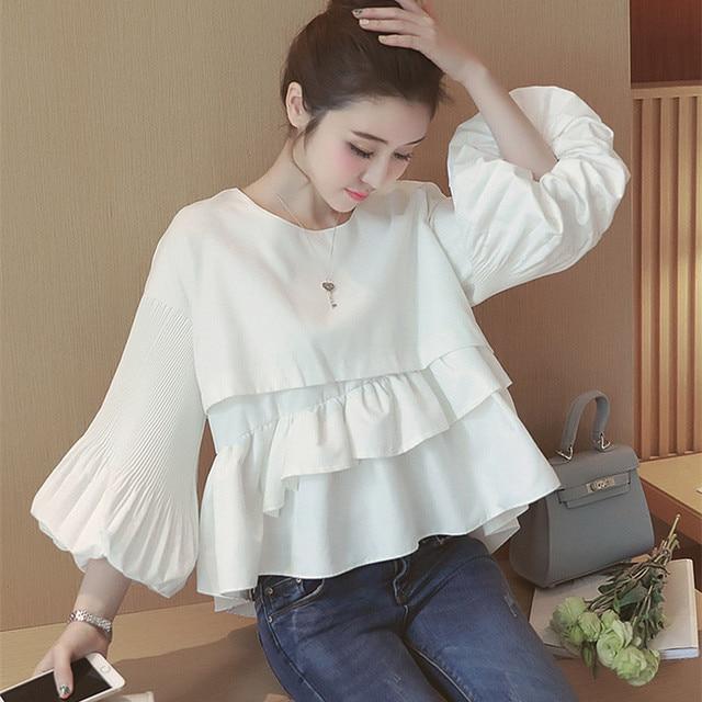 3cc45494bf4 Women Tops and Blouses Korean Fashion 2018 Cute Baby Doll Style Ladies  Ruffle Blouse Lantern Sleeve